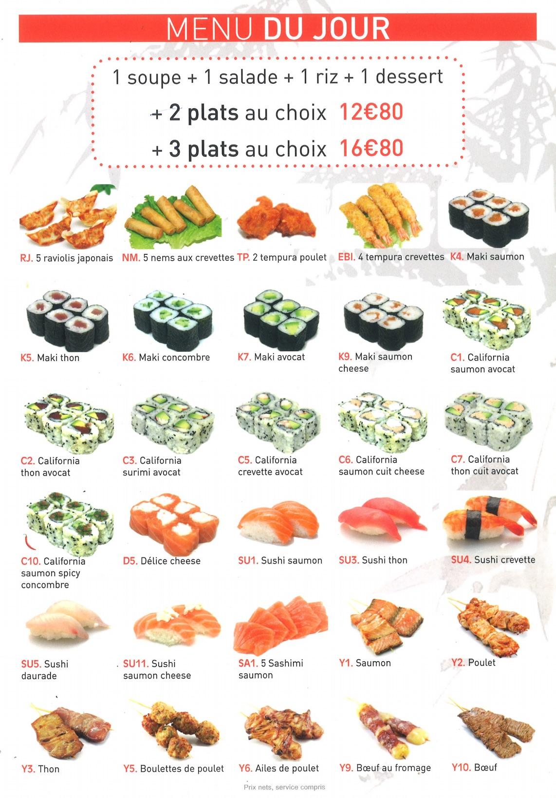 menus du jour