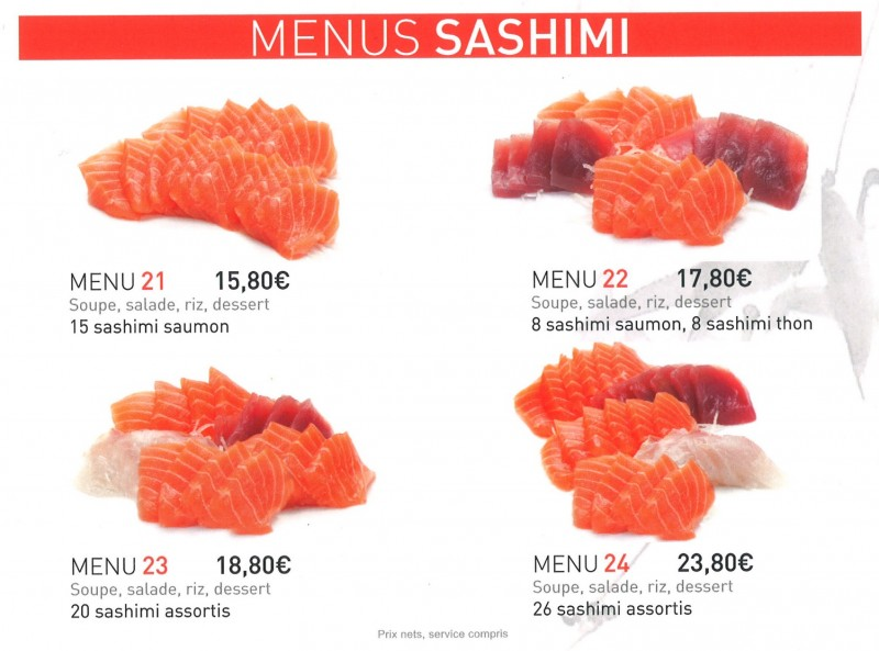 menus sashimi