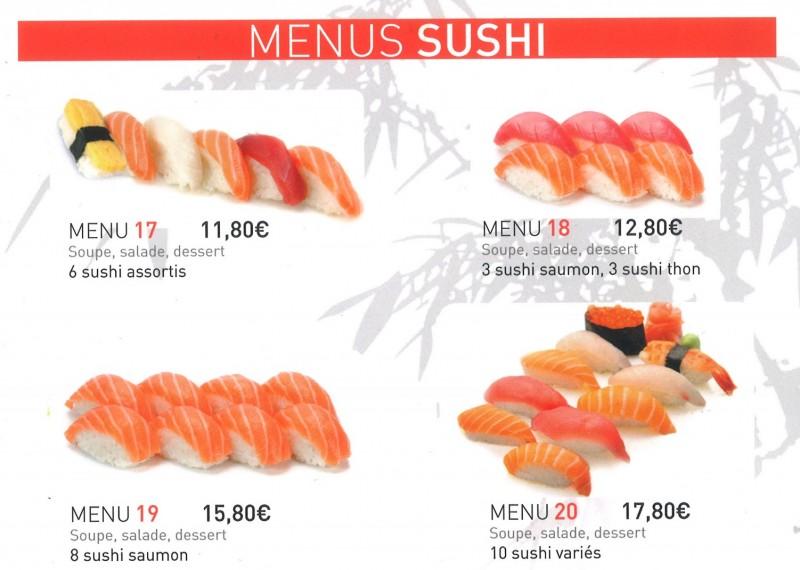 menus sushis